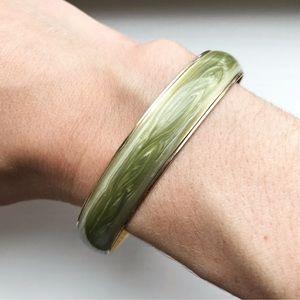 Vintage gold & pale green marble bangle bracelet